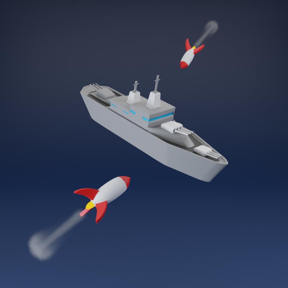 illustration 3d game naval battle