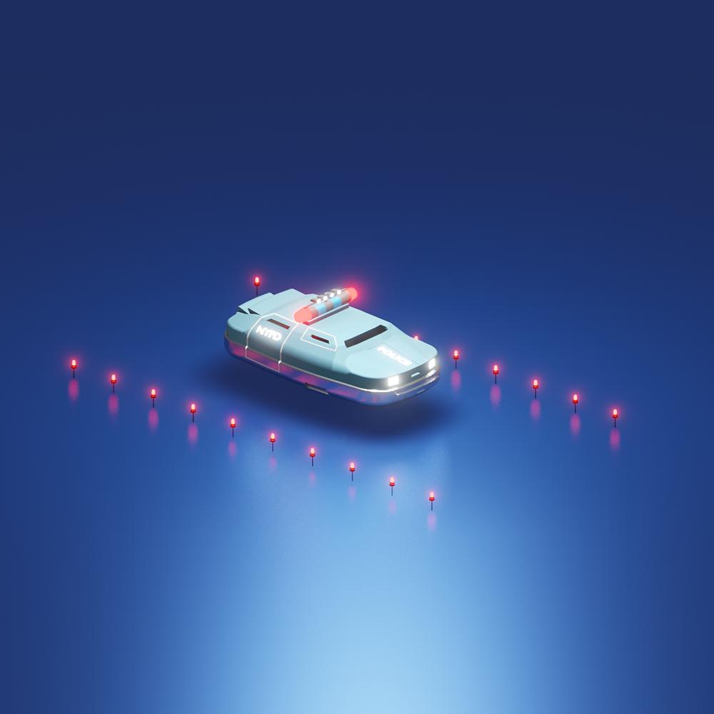 mini-scene en 3d d'une voiture de police tirée d'un film