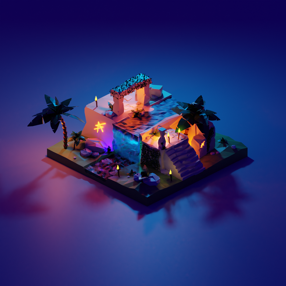 illustration d'un temple maya de nuit en 3d