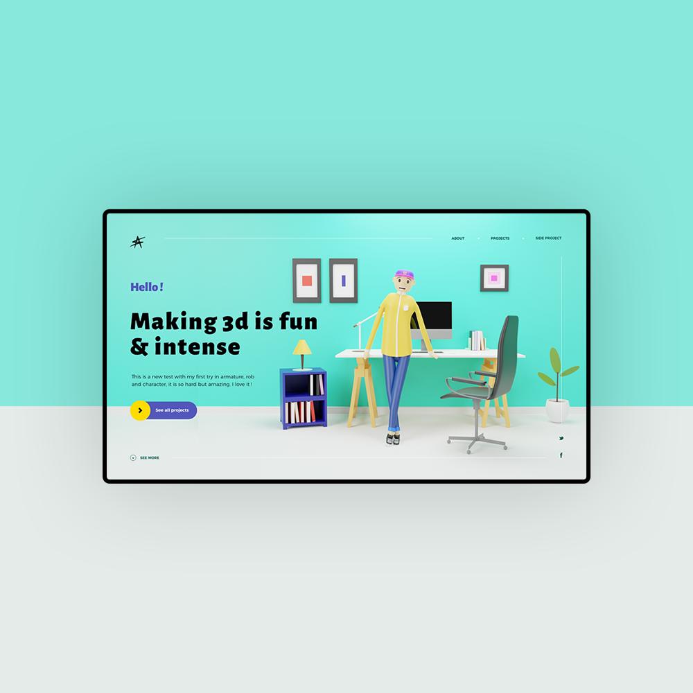 exemple d'une illustration 3d dans un webdesign